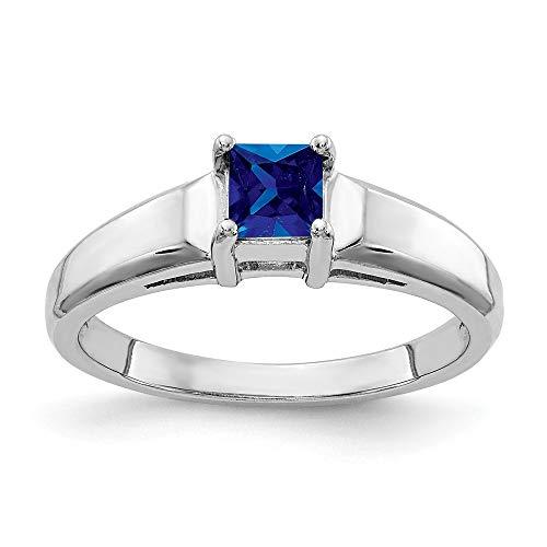 14K White Gold 4mm Princess Cut Sapphire Ring
