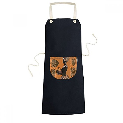 DIYthinker African Primitive Aboriginal Black Women Totems Cooking Kitchen Black Bib Aprons With Pocket for Women Men Chef Gifts by DIYthinker