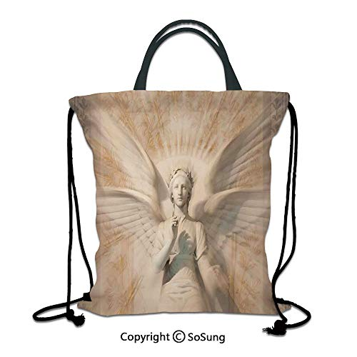 Sculptures 3D Print Drawstring Bag String Backpack,Statue of Angel Woman in Medieval Cathedral Site Vintage Style Mythical Design Decorative,for Travel Gym School Beach Shopping,Yellow White