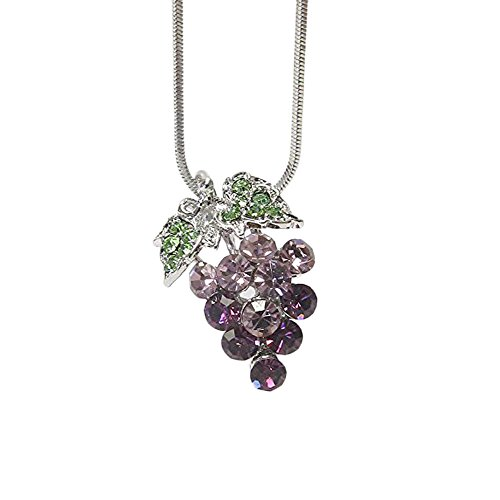 Lola Bella Gifts Crystal Grapes Winery Theme Pendant Necklace with Gift Box