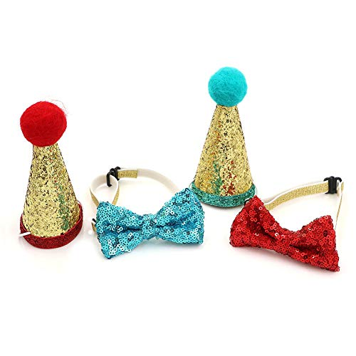 Adasea Dog Santa Hat Cute Birthday Party Cone Hat and Bow tie Collar Set for Dog Cat Small Pets,Pack of 4,Green and Red