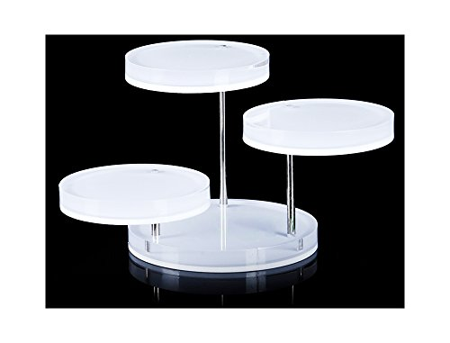 Svea Display Mini Acrylic Display Stand Tower Tray 3 Tier Turnable Multi Layer Fine Exhibition White Acrylic Multi Platform
