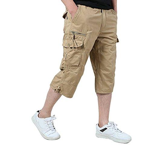 - Leward Men's Casual Twill Elastic Cargo Shorts Loose Fit Multi-Pocket Capri Long Shorts (M, Khaki)