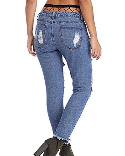 de Skinny Pantalones Elásticos Jeans Vaqueros Liga Medias Leggings Slim Con Mujer para Up Azul Push qvpvS