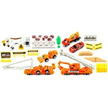 Supreme Construction Site 40 Piece Mini Diecast Toy Vehicle Playset w/ Variety of Vehicles, Accessories
