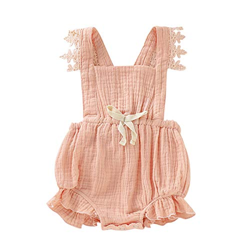 Toddler Baby Girl Infant Comfy Cotton Linen Lace Princess Overall Dress Sundress (Q-Rompers(Peach Pink), 18-24 -