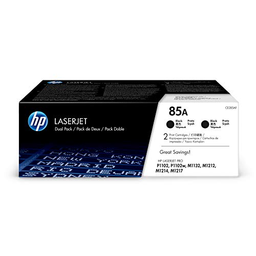 HP 85A (CE285A) Black Toner Cartridge, 2 Toner Cartridges (CE285D) for HP LaserJet Pro M1212nf M1217nfw P1102w ()