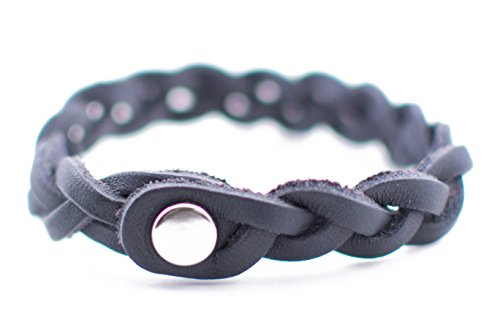 """Braided Leather Diffuser Bracelet (6.5"""" - Navy Blue)"""