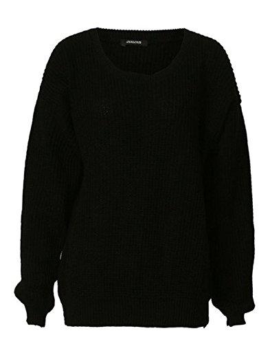 Zara Fashion-Women Oversized chunky jersey de punto de punto Baggy Black
