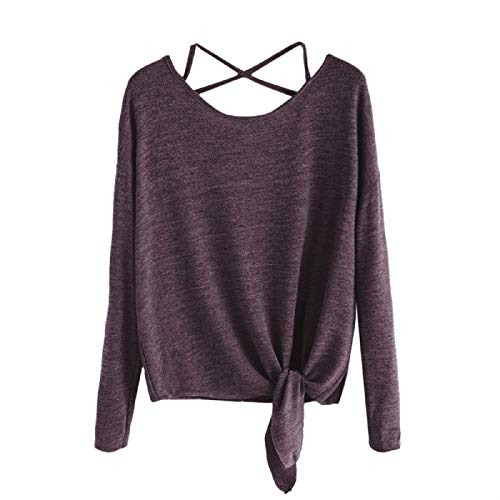 Wintialy Women Daily Casual Crow Tied Up Long Sleeve Soild Fasion Tops Blouse T-Shirt Wine (Ruched Surplice Sweetheart Bodice)