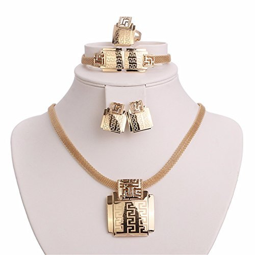 Moochi 18K Gold Plated Africa Style Golden Necklace Jewelry Set Party Dance by Moochi