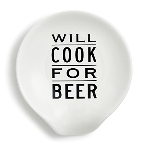 Will Cook For Beer Black and White 5 x 4 Ceramic Stoneware Spoon Rest