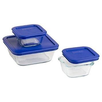 Pyrex - Juego de recipientes cuadrados de cristal para almacenamiento de alimentos con cubierta de plástico