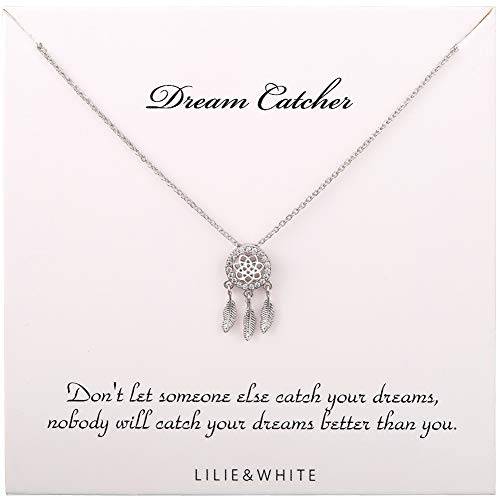 LILIE&WHITE Sparkling Dream Catcher Necklace Pendant Women's Dreamcatcher Pendant Chain Necklace Dangling Feather Charms Filigree