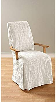 Amazon Com Sure Fit Matelasse Damask Arm Long Dining Room Chair Cover White Furniture Decor