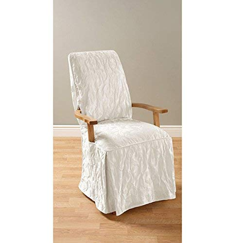 (Sure Fit Matelasse Damask Arm Long Dining Room Chair Cover-White)