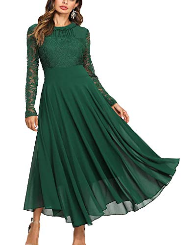 Roiii Women's Formal Floral Lace Chiffon Long Sleeve Ruched Neck Long Dress Evening Cocktail Party Maxi Dress (4X-Large, Dark Green)