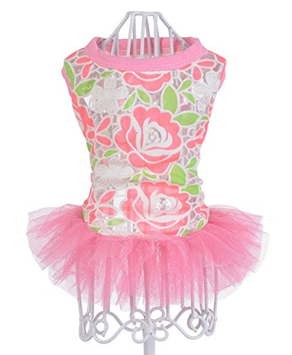 Homemade Flower Costumes For Dogs (Freerun Pet Dog Summer Dress Breathable Flower Mesh Lace Vest Tutu Puppy Dog Cat Clothing Costume - RoseRed, XL)
