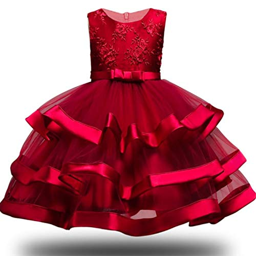Girl Dress Party Birthday Wedding Princess Toddler Baby Girls Christmas Dresses,Wine ()