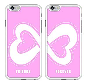 Pink Infinity Heart Friendship Best Friends Snap-On Cover Hard Plastic Case Set for iPhone 6 - Set of 2 Cases (White)