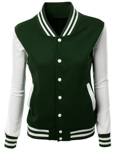Review Stylish Color Contrast Long Sleeves Varsity Jacket Green Size S
