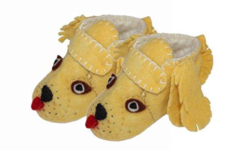 Silk Road Bazaar Golden Retriever Toddler Zooties, Yellow, 1-2 - Baby Booties Felted