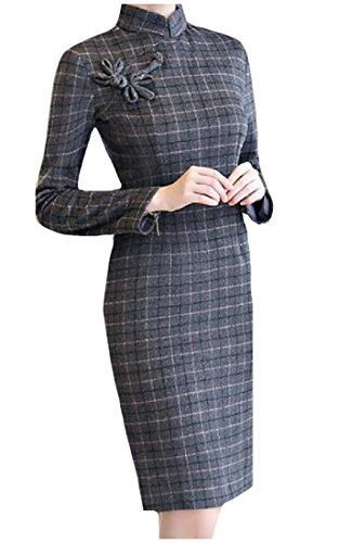 DressU Womens Plaid Stand Collar Wool Blend Retro Long Sleeve Cheong-Sam Silm Fit Dress Gray Large
