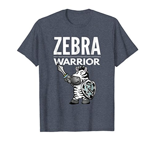 Mens Zebra Warrior Shirt for Ehlers Danlos Syndrome Awareness XL Heather Blue