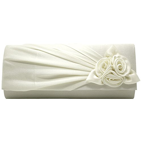 Brand Amazing Prom Satin Evening Clutch Bag Flower Ivory Envelope Wocharm Floral UK Handbag Party New Ladies Wedding Post xrxv5q