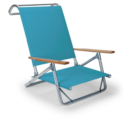 Telescope Casual Original Mini-Sun Chaise Folding Beach Arm Chair, Aqua (Deck Boat Chairs Lounge)