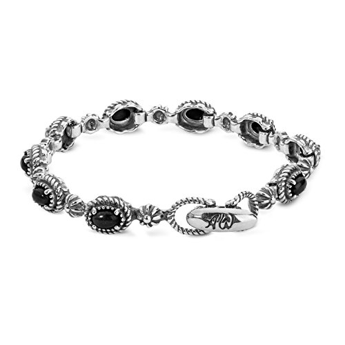 American West Sterling Silver & Black Agate Oval Station Link Bracelet (Sterling Agate Silver Black)