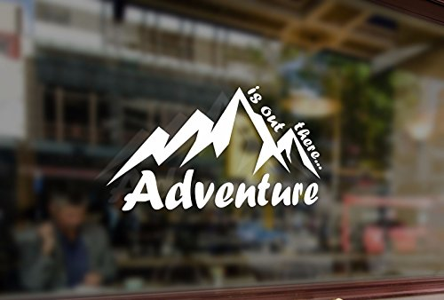 (25cm Mountain ADVENTURE is out there Climbing Vinyl Stickers Funny Decals Bumper Car Auto Computer Laptop Wall Window Glass Skateboard Snowboard )
