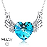 Swarovski Element Necklace Heart Of Ocean Blue Angels Wing Guardian Heart Pendant Necklace with Swarovski Crystals, Blue Crystal Heart Wings Necklace, Angel Wings Necklace, Angel Wing Jewelry Gifts