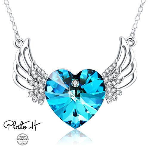 PLATO H Swarovski Element Necklace Ocean Blue Angels Wing Guardian Heart Pendant Necklace with Swarovski Crystals, Blue Crystal Heart Wings Necklace, Angel Wings Necklace, Angel Wing Jewelry Gifts ()