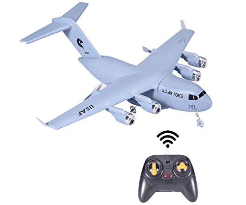 Sallymonday Imported 3-Axis RC Airplane Transport Aircraft RTF, 2.4GHz 2CH Remote Control Glider Aircraft,EPP with Gyro Super Easy to Fly Safe Technology for Beginners 14 Years Old Kids Adult (C-17)