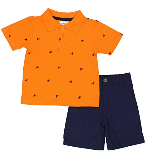 Buster Brown Boys Top and Shorts Set (Toddler) (2T, Orange Dirt Bike Polo) (Outfits For Tweens)