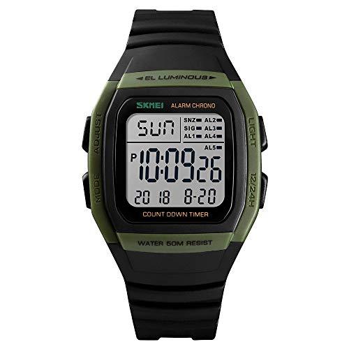 Boys Outdoor Sports Watches Student Square Digital LED Electronic Watch Junior Luminous Digital Waterproof - Sport Junior Black Dial