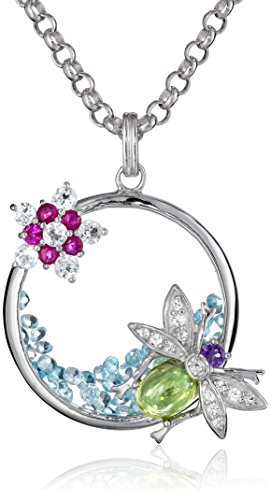 Kenneth Jay Lane Fine Jewelry Sterling Silver, Topaz, Peridot, Ruby and Amethyst Bug Insect Pendant Necklace