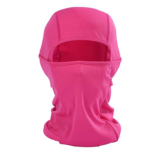 Bolayu Fashion Men Women Winter Breathable Motorcycle Face Mask Lightweight Adjustable Mask (Hot Pink)