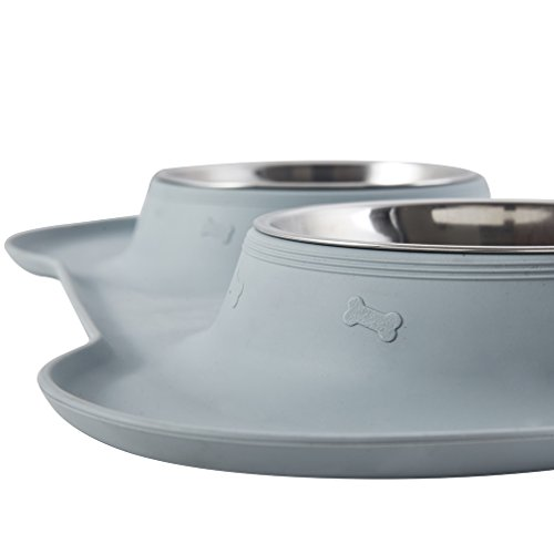 187 Airisland Double Dog Cat Bowls With No Spill No Skid