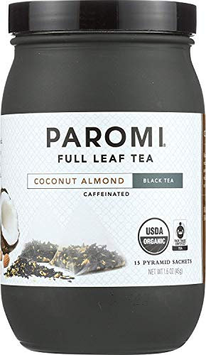 Paromi Tea Black Tea Coconut Almond 15 Count Full Leaf Tea in Individual Tea Sachets, Delicious as Hot Tea or Iced Tea, Black Tea with Coconut and Almond Flavor, Organic and Fair Trade Certified