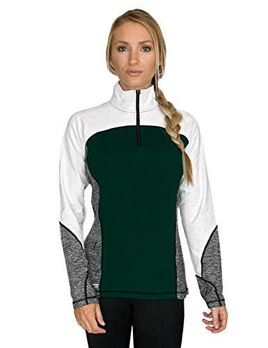 Woolx Womens Rory 1/4 Zip Midweight Warmth, Moisture Wicking Merino Wool Pull Over Sweater, Rain Forest, X-Large