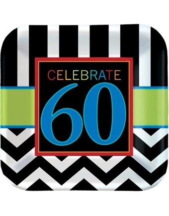 Must-Have Chevron and Stripes 60th Birthday Party Square Luncheon Plates Tableware, Pack of 8, Multi , 9