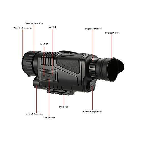 EGCLJ Digital Monocular Telescope - Infrared Night Vision - with Camera Recorder Function - 5X40 Night Vision - Bird Watching Hunting