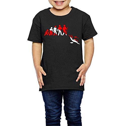 POOSYa Evolution of Scuba Diving Costume Toddler/Infant Crewneck Short Sleeve Shirt T-Shirt for 2-6 Toddlers Black
