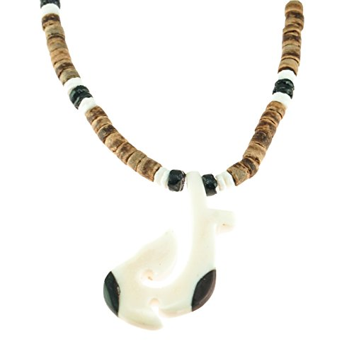 Hand Carved Hawaiian Tribal Bone and Wood Fish Hook Pendant on Tiger Coconut Wood Beaded Necklace with Black & White Puka Clam Shell Beads -