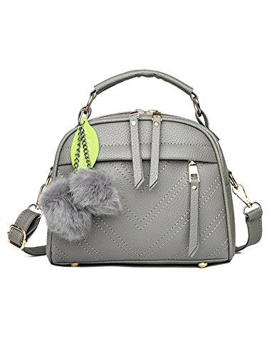 Tote Gray Zouvo Satchel Shoulder New Fashion Women Purse Handbag Hobos Ball Light Bag Fluff PU 66PAqBw4