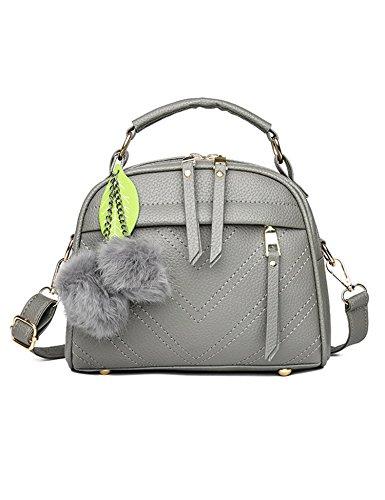 Tote Gray Zouvo Satchel Shoulder New Fashion Women Purse Handbag Hobos Ball Light Bag Fluff PU 66PAqBw4