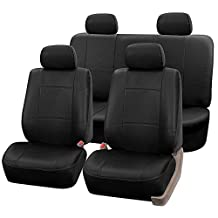 FH Group Universal Fit Seat Cover - Faux Leather (Black) (Full Set With 4 Headrest Covers)