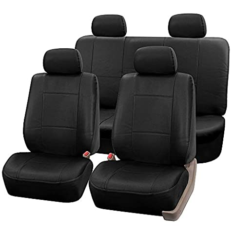 FH GROUP FH-PU002114 Classic Exquisite Leather Full Set Car Seat Covers, Airbag compatible and Split Ready, Solid Black Color- Fit Most Car, Truck, Suv, or Van